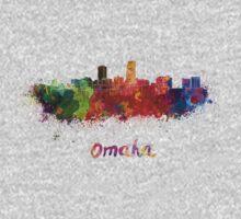 Omaha skyline in watercolor Kids Tee