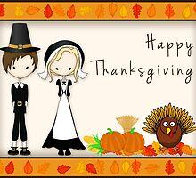 Cute Cartoon Thanksgiving Pilgrims by ArtformDesigns