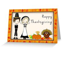 Cute Cartoon Thanksgiving Pilgrims Greeting Card