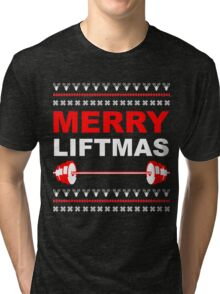 Merry Liftmas, Weightlifting Christmas Ugly Sweater Tri-blend T-Shirt