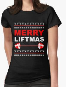 Merry Liftmas, Weightlifting Christmas Ugly Sweater Womens Fitted T-Shirt