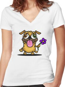 PUG PUG PUG Women's Fitted V-Neck T-Shirt