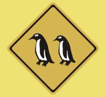 Penguins Crossing, Traffic Sign, New Zealand Kids Tee