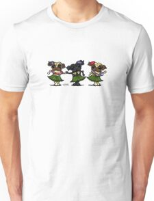 Hula Dancer Pugs Unisex T-Shirt