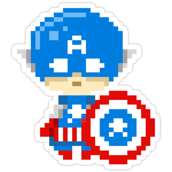 Captain America Pixels Stickers by Astrotoast