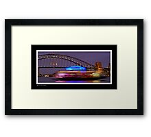 Sydney Harbour at night with long exposure ferry Framed Print