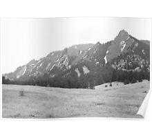 Flatirons Boulder Colorado Winter View BW Poster
