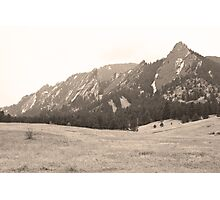 Flatirons Boulder Colorado Winter View Sepia Photographic Print
