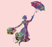 Mary Poppins Silhouette Watercolor Baby Tee