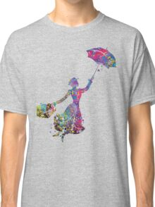 Mary Poppins Silhouette Watercolor Classic T-Shirt
