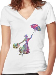 Mary Poppins Silhouette Watercolor Women's Fitted V-Neck T-Shirt