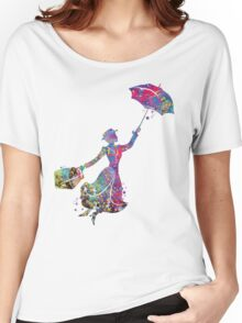 Mary Poppins Silhouette Watercolor Women's Relaxed Fit T-Shirt