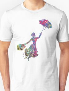 Mary Poppins Silhouette Watercolor Unisex T-Shirt