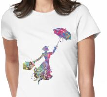 Mary Poppins Silhouette Watercolor Womens Fitted T-Shirt