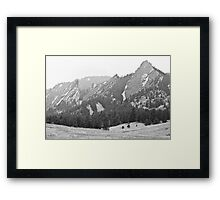 Three Giant Flatirons View Boulder Colorado BW Framed Print