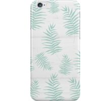 White wood and mint leaves pattern iPhone Case/Skin