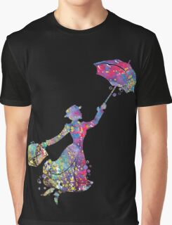 Mary Poppins Silhouette Watercolor Graphic T-Shirt