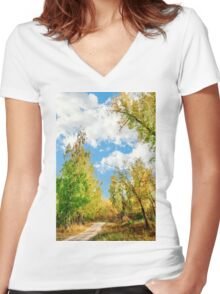 Rest beside the path Women's Fitted V-Neck T-Shirt