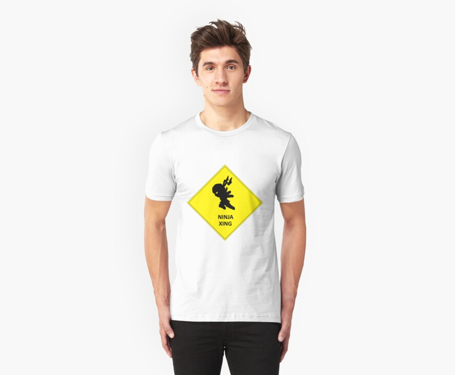 Caution Ninja Crossing T-Shirt by NeoTactical