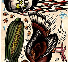 turkey and skull with corn, tattoo flash print, thanksgiving by resonanteye