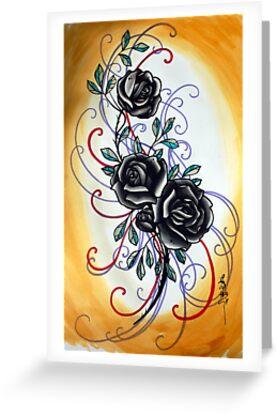 yellow and black rose, tattoo flash by resonanteye