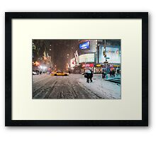 Times Square in the Snow - Winter in NYC Framed Print