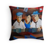 THREE MEN IN A TRENCH Throw Pillow