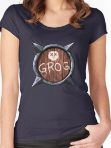 Spiked Shield with Grog and Skull Logo AAARG! Women's Fitted Scoop T-Shirt
