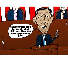 Barack Obama caricature on guns and government jobs Photographic Print