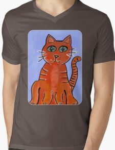 Friendly Cat Mens V-Neck T-Shirt