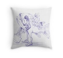 Fishy Sketch Throw Pillow