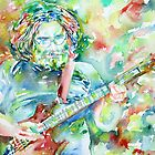 JERRY GARCIA PLAYING the GUITAR- watercolor portrait.2 by lautir