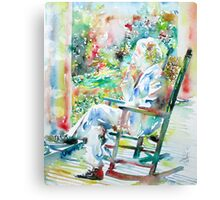 MARK TWAIN sitting and smoking a CIGAR - watercolor portrait Canvas Print