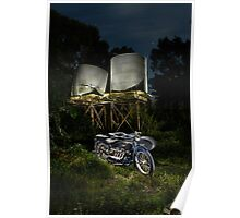an ACE motorcycle outfit and corrugated water tanks Poster