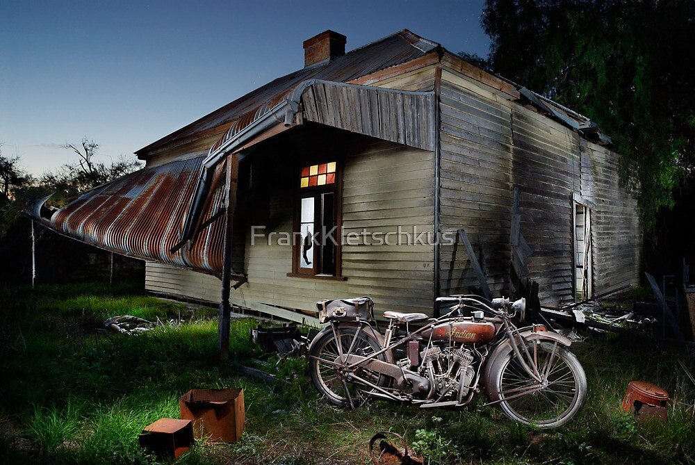 Unrestored 1924 Indian Chief and Australian farm house by Frank Kletschkus