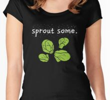 sprout some. (Brussels sprouts) <white text> Women's Fitted Scoop T-Shirt