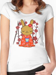 Kimono Bunny! Usahime the Rabbit Women's Fitted Scoop T-Shirt
