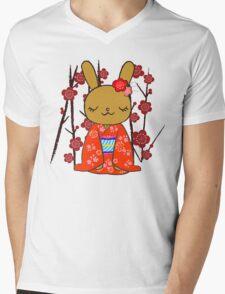 Kimono Bunny! Usahime the Rabbit Mens V-Neck T-Shirt