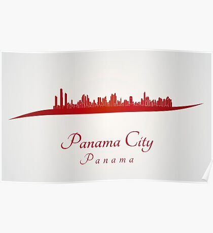 Panama City skyline in red Poster