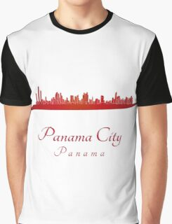 Panama City skyline in red Graphic T-Shirt