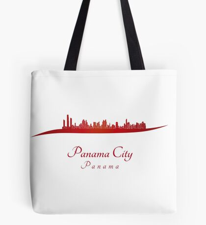 Panama City skyline in red Tote Bag