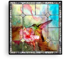 Stained Glass Template: Hummingbird Canvas Print