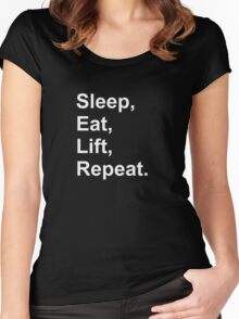 Sleep, eat, lift, repeat. Women's Fitted Scoop T-Shirt