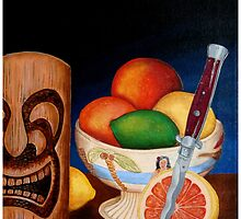 Grapefruit with Italian switchblade by Tiki King