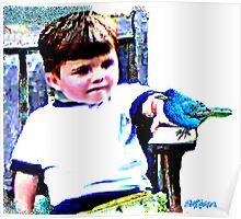 Bluebird On A Bench Poster
