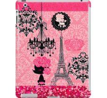 French Girly Eiffel Tower, Poodle & Damask Elegant iPad Case/Skin