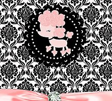 Elegant Black Damask Paris Pink Poodle Girly by GirlyGirl