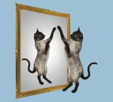 Cute Siamese Cat In Mirror One Piece - Short Sleeve