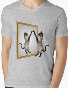 Cute Siamese Cat In Mirror Mens V-Neck T-Shirt