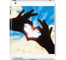 Silhouette hands in heart shape and blue sky iPad Case/Skin